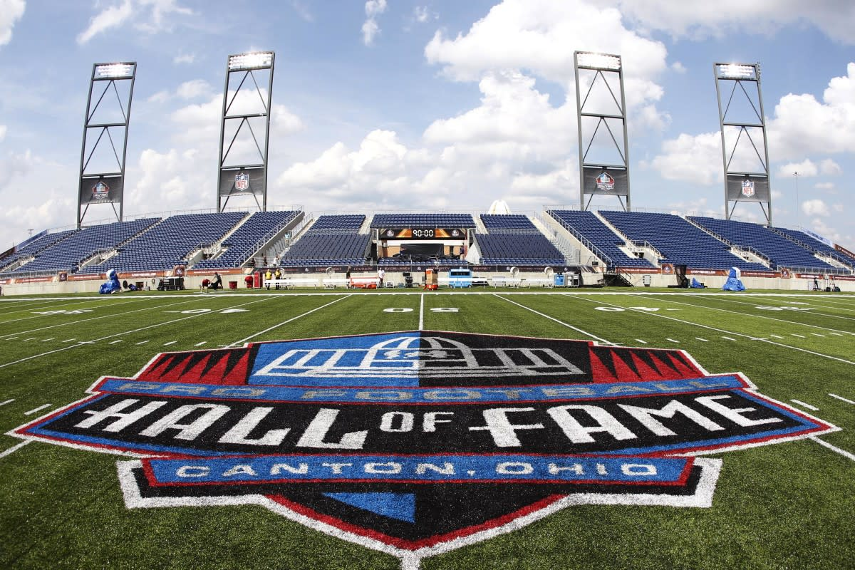 The Hall of Fame logo was featured on the field prior to the 2017 Hall of Fame Game between the Cardinals and the Cowboys in Canton, Ohio.