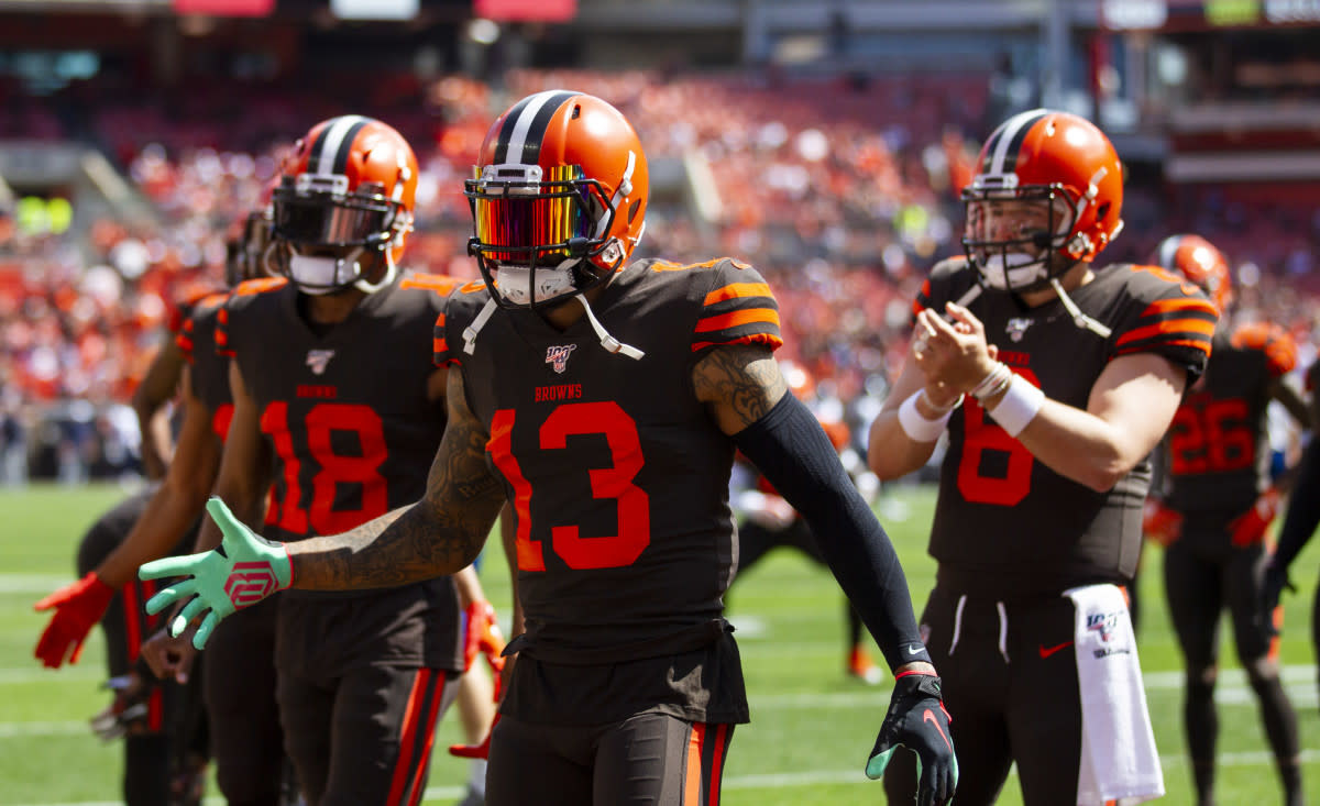 On Sept. 8, 2019, Browns wide recievers Odell Beckham (13) and Damion Ratley (18) along with quarterback Baker Mayfield (6) welcome teammates onto the field before a game against the Titans at FirstEnergy Stadium.