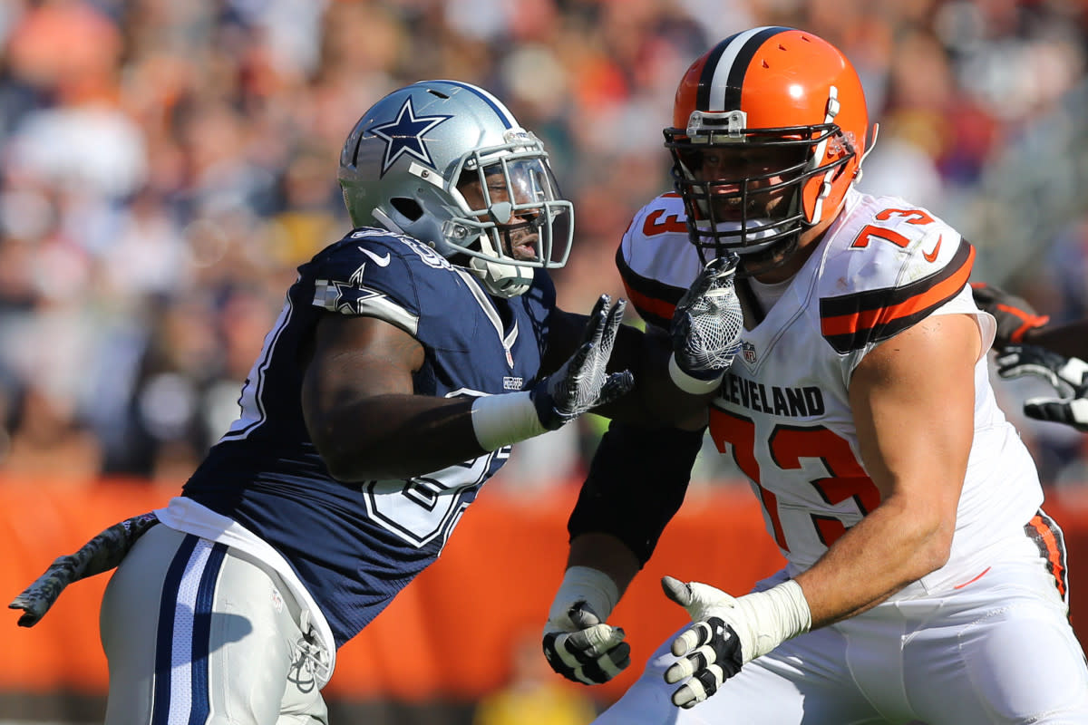 Browns offensive tackle Joe Thomas (73) holds off Cowboys defensive end Benson Mayowa during a 2016 game at FirstEnergy Stadium.