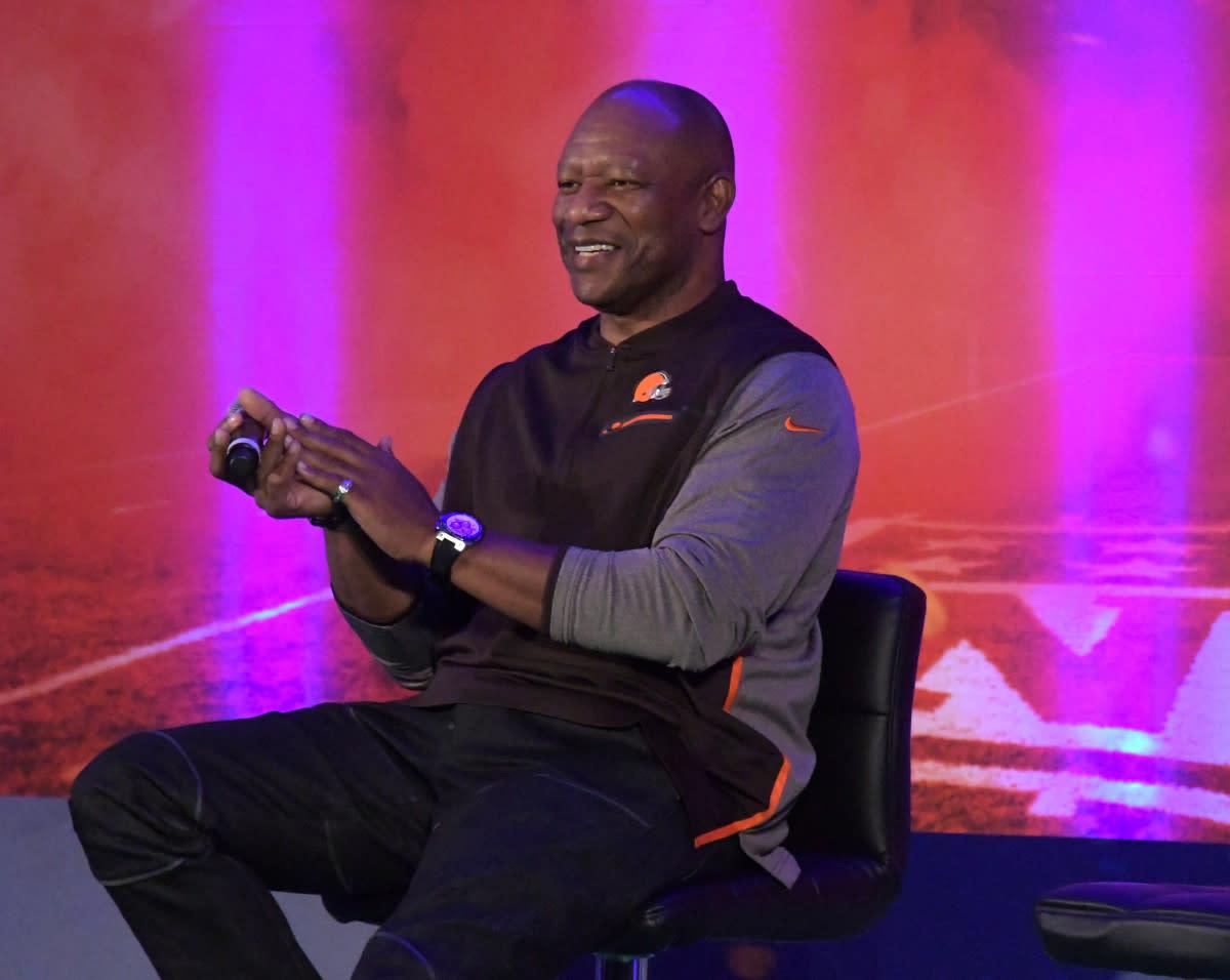 Former Browns cornerback Hanford Dixon speaks at NFL UK Live at the Landmark Hotel in London in 2017.