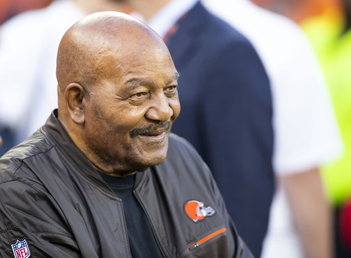 Browns Hall of Fame running back Jim Brown smiles on the sidelines before a 2019 game against the Rams.