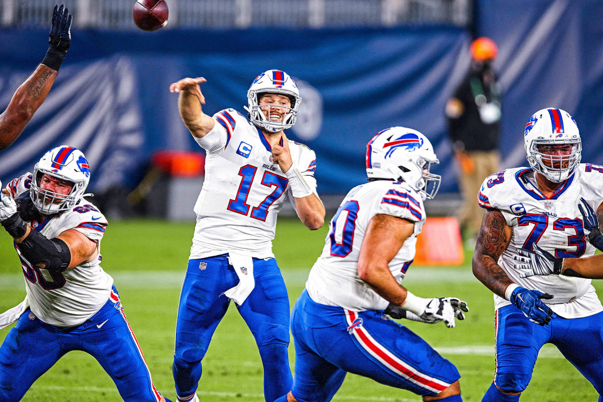 Josh Allen throws a pass from the pocket during the 2020 season
