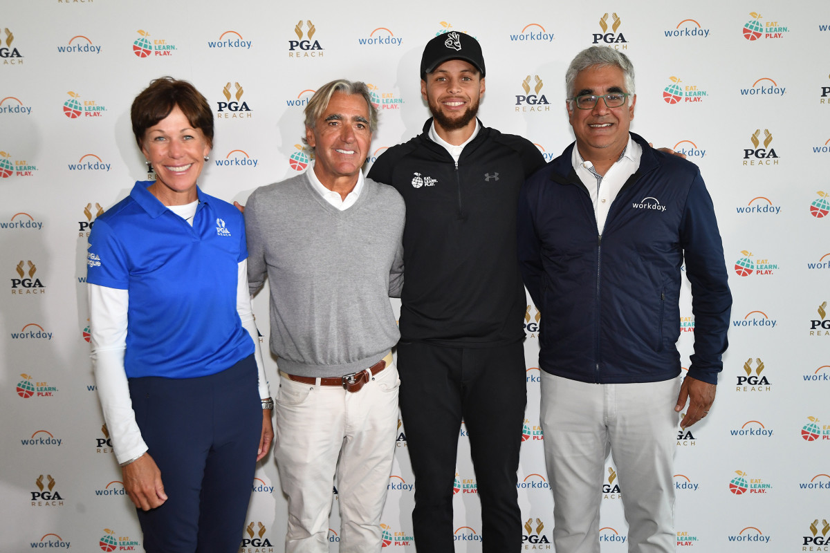 Haskins worked hard to court Curry as a PGA ambassador, but found himself squeezed out of closing the deal. The Warriors star is pictured here at the 2019 Stephen Curry Charity Classic presented by Workday with Whaley, Waugh andWorkday CEO Aneel Bhusri.