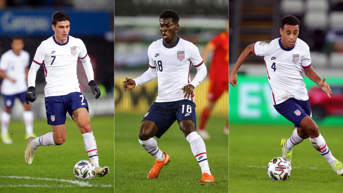 USA's Gio Reyna, Yunus Musah and Tyler Adams