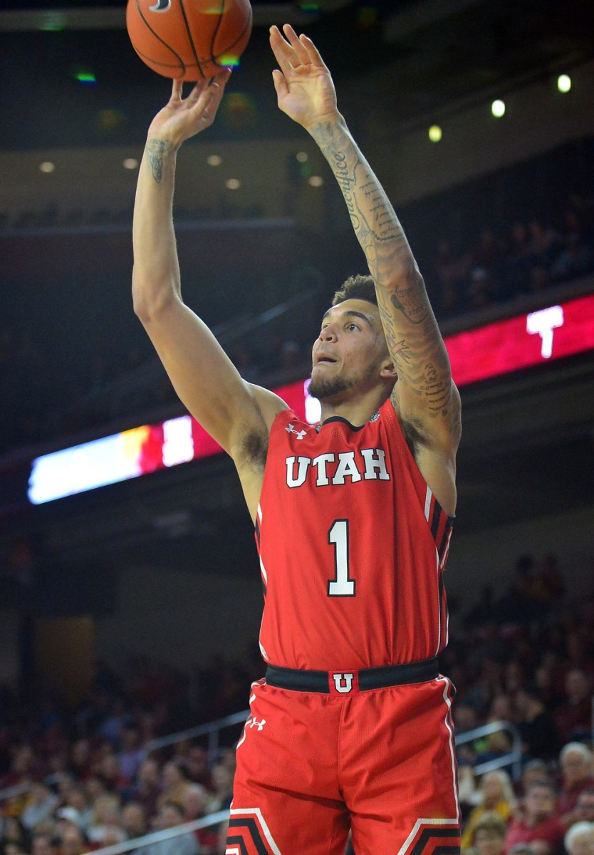 January 30, 2020; Los Angeles, California, USA; Utah Utes forward Timmy Allen (1) shoots against the Southern California Trojans during the second half at Galen Center.
