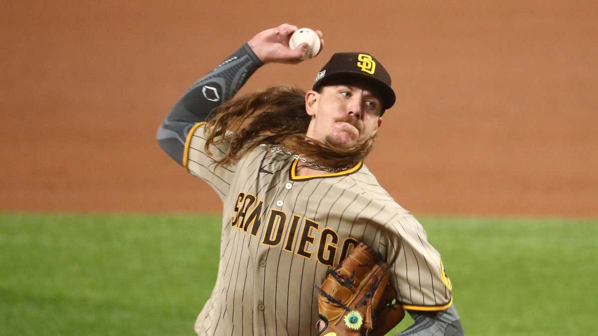 San Diego Padres starting pitcher Mike Clevinger (52) pitches against the Los Angeles Dodgers during the first inning in game one of the 2020 NLDS at Globe Life Field.