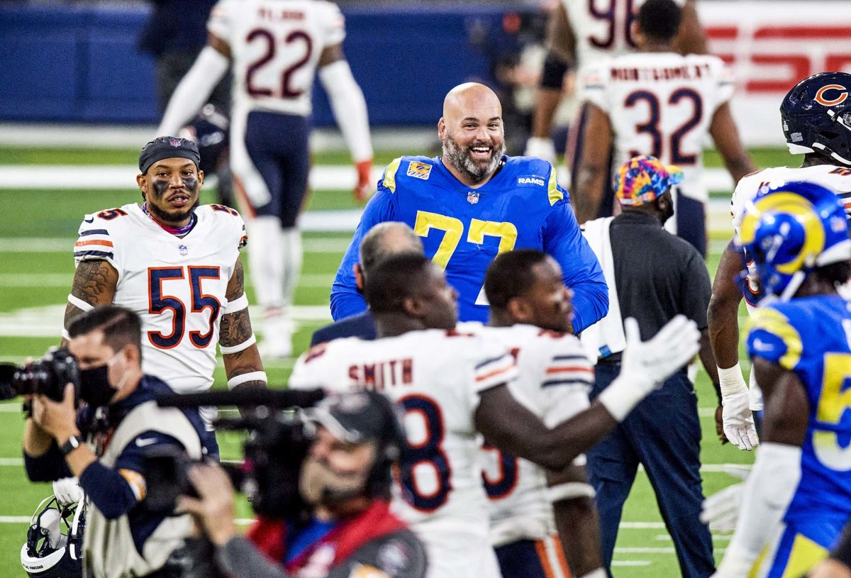 Andrew Whitworth smiles post-game after a Rams victory over the Bears