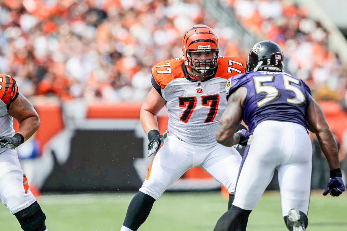 Then a Bengals lineman, Andrew Whitworth blocks Terrell Suggs during a Bengals-Ravens game