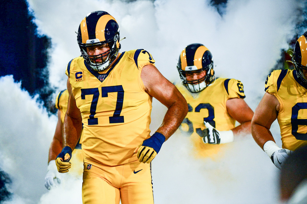 Andrew Whitworth leads the Rams out of the tunnel before a 2018 game against the Chiefs