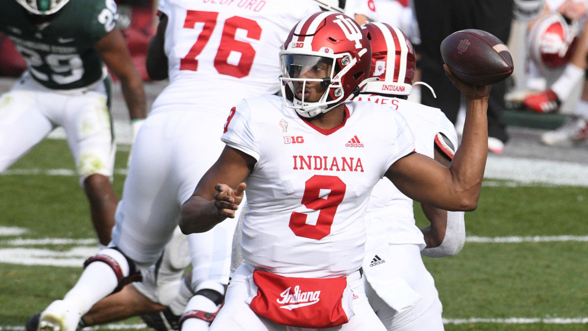 Indiana Hoosiers quarterback Michael Penix Jr. (9) throws a pass during the second quarter against the Michigan State Spartans at Spartan Stadium.