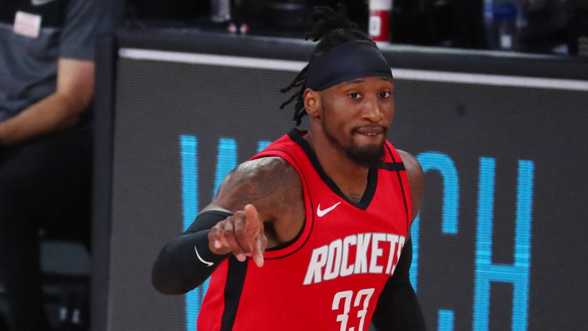 Houston Rockets forward Robert Covington (33) reacts against the Oklahoma City Thunder during the third quarter in game six of the first round of the 2020 NBA Playoffs at ESPN Wide World of Sports Complex