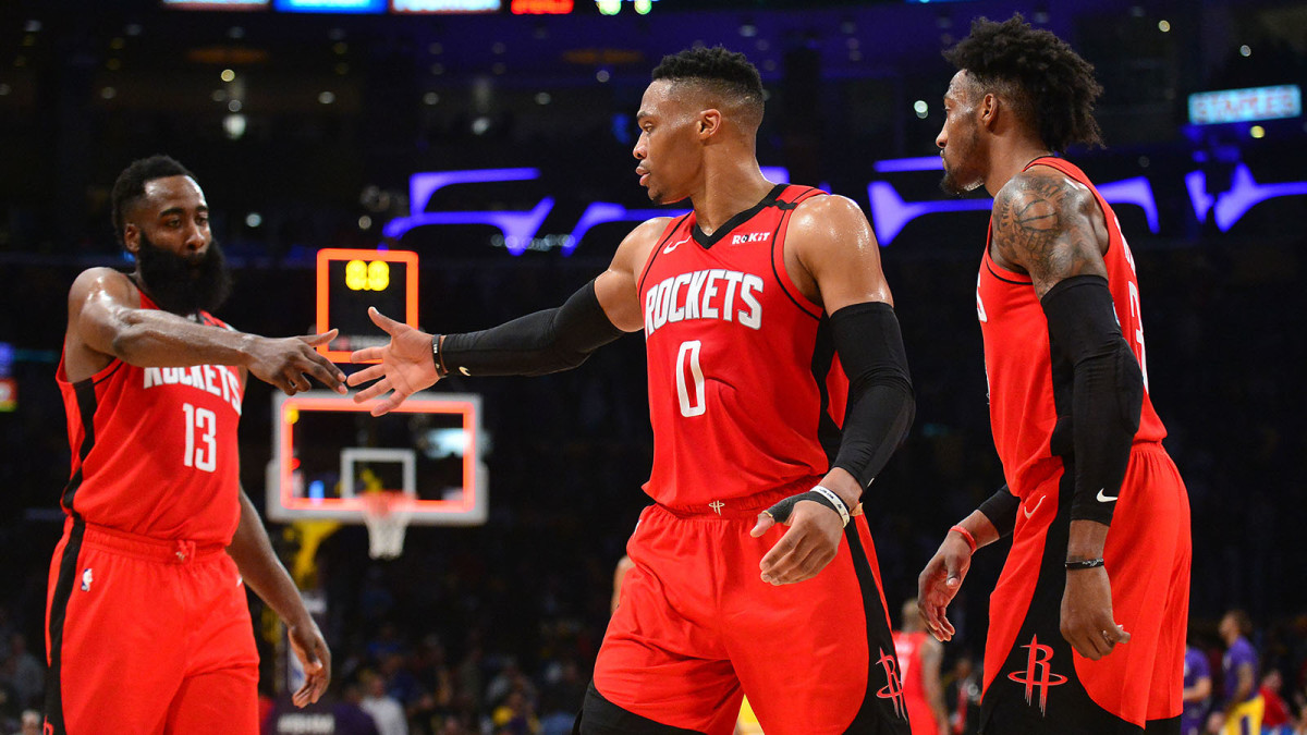 Houston Rockets guard James Harden, guard Russell Westbrook and forward Robert Covington