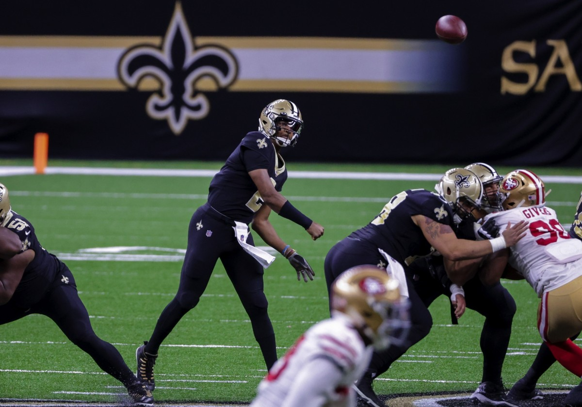 Nov 15, 2020; New Orleans, Louisiana, USA; New Orleans Saints quarterback Jameis Winston (2) throws against the San Francisco 49ers during the second half at the Mercedes-Benz Superdome. Mandatory Credit: Derick E. Hingle-USA TODAY