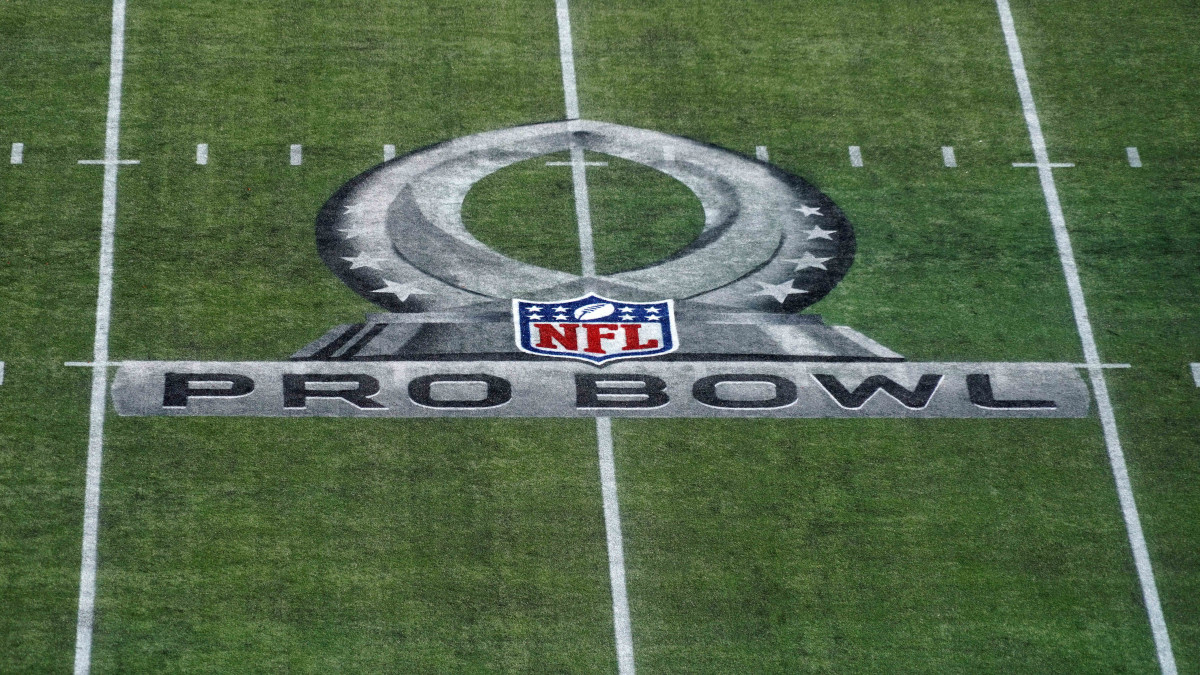 Detailed view of the 2020 NFL Pro Bowl logo on the field at Camping World Stadium.