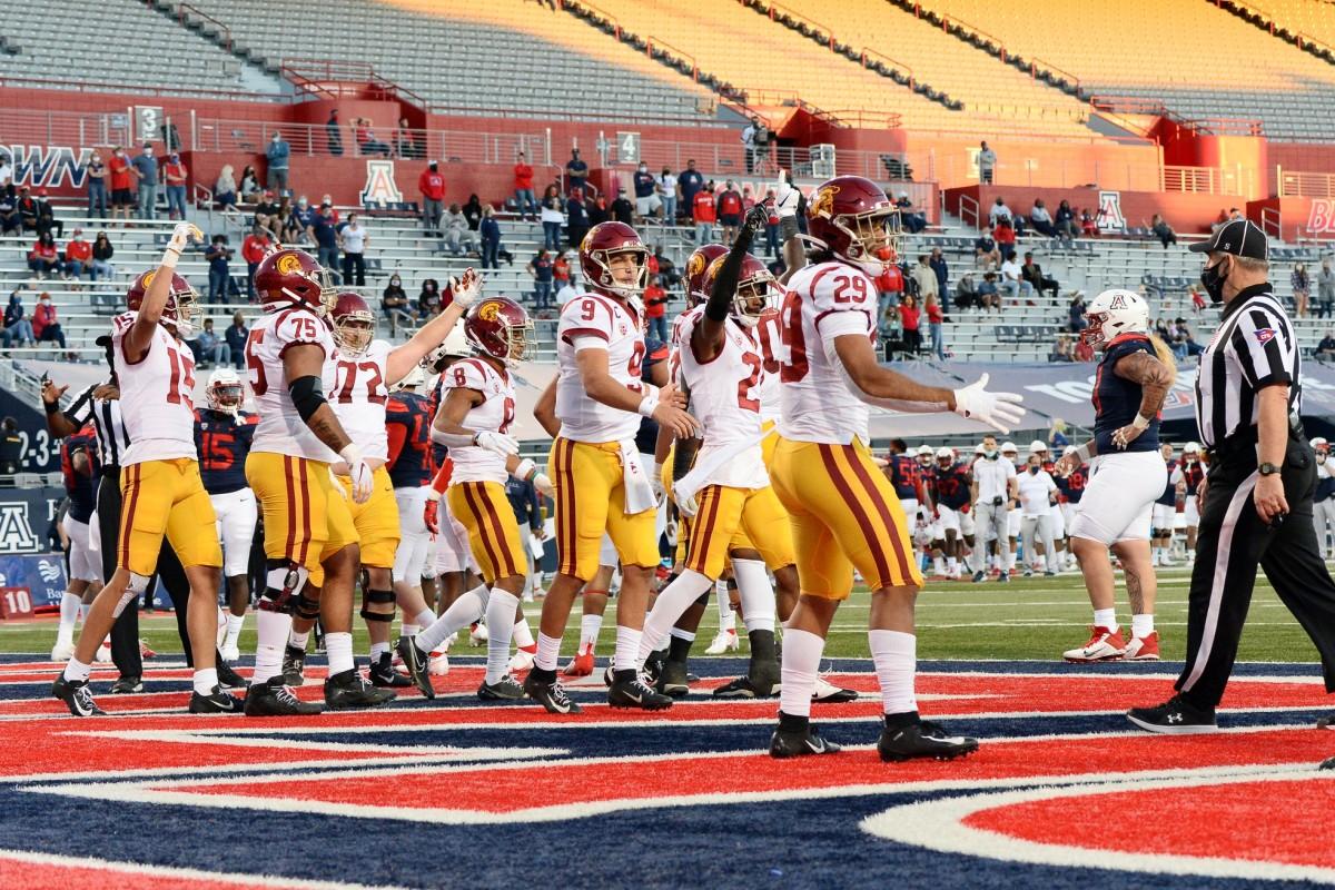 Nov 14, 2020; Tucson, Arizona, USA; USC Trojans running back Vavae Malepeai (29) celebrates a touchdown against the Arizona Wildcats during the second half at Arizona Stadium.