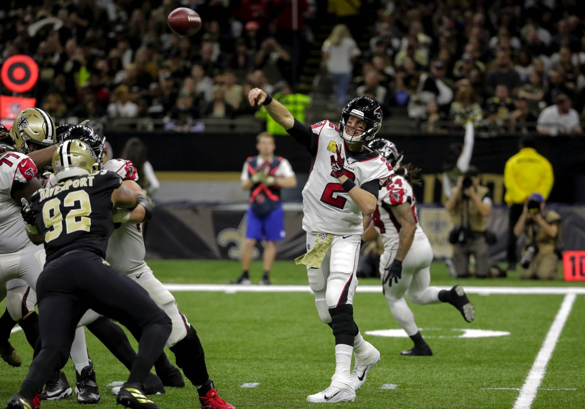 Nov 10, 2019; New Orleans, LA, USA; Atlanta Falcons quarterback Matt Ryan (2) throws against the New Orleans Saints during the first half at the Mercedes-Benz Superdome. Mandatory Credit: Derick E. Hingle-USA TODAY