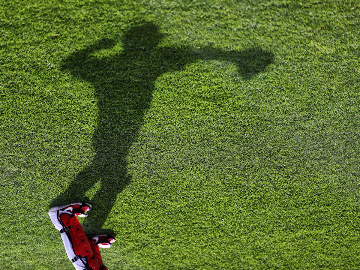 Shadow of a baseball player