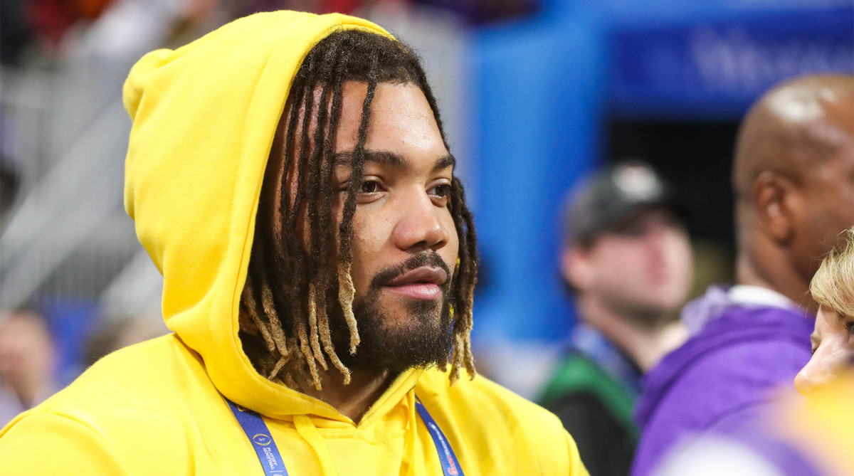 Dec 28, 2019; Atlanta, Georgia, USA; Washington Redskins running back Derrius Guice before the 2019 Peach Bowl college football playoff semifinal game between the LSU Tigers and the Oklahoma Sooners at Mercedes-Benz Stadium. Mandatory Credit: Jason Getz-USA TODAY Sports