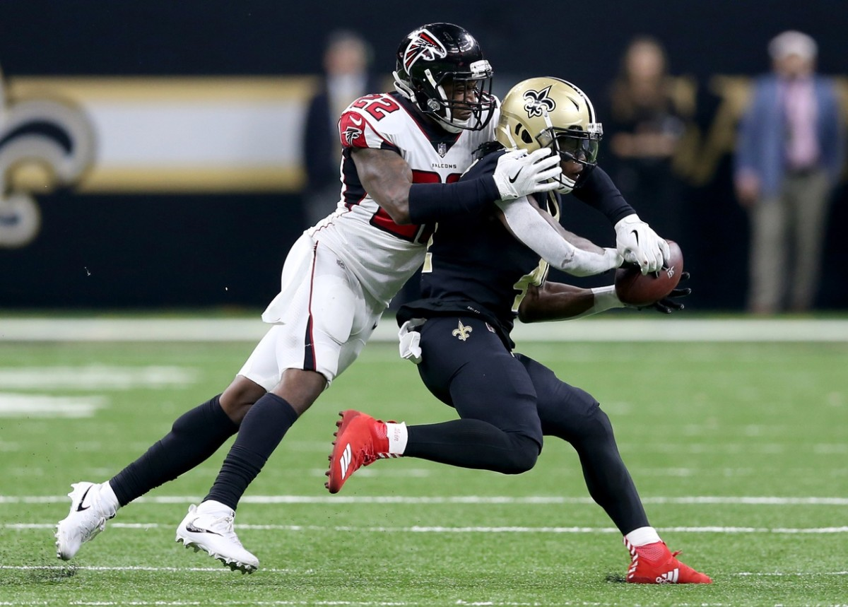Dec 24, 2017; New Orleans, LA, USA; Atlanta Falcons safety Keanu Neal (22) defends a pass against New Orleans Saints running back Alvin Kamara (41) in the first quarter at the Mercedes-Benz Superdome. Mandatory Credit: Chuck Cook-USA TODAY