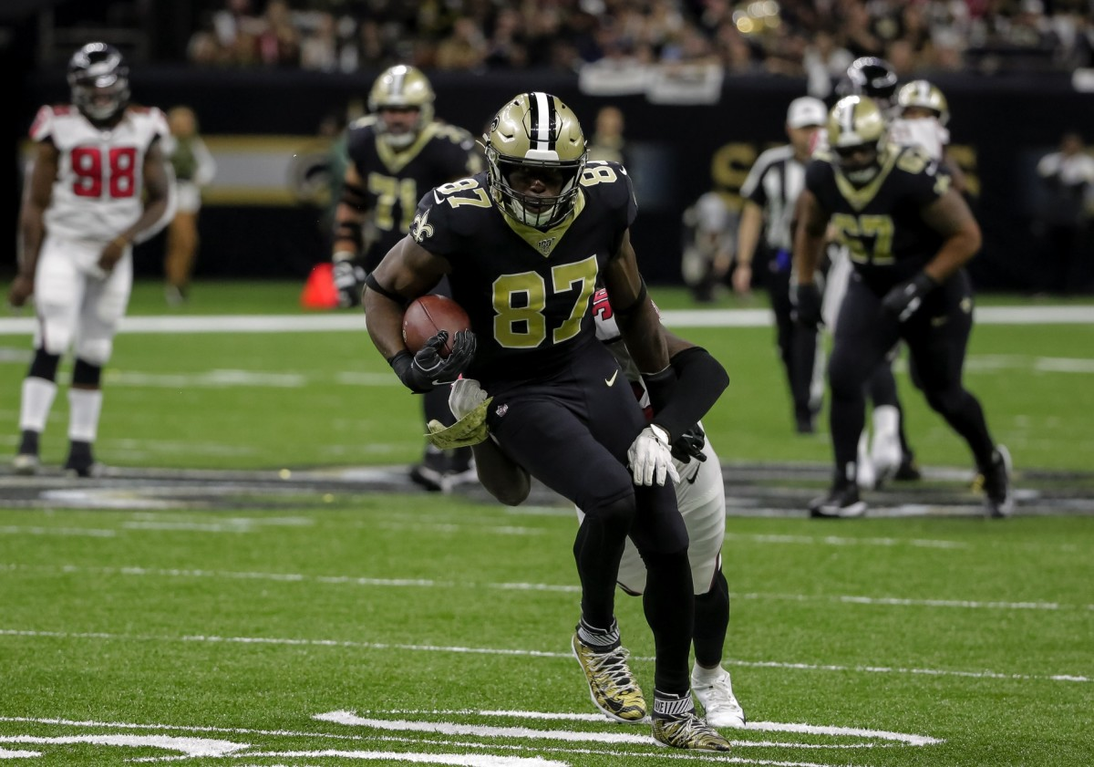 Nov 10, 2019; New Orleans, LA, USA; New Orleans Saints tight end Jared Cook (87) is tackled by Atlanta Falcons defensive back Kemal Ishmael (36) during the first quarter at the Mercedes-Benz Superdome. Mandatory Credit: Derick E. Hingle-USA TODAY Sports