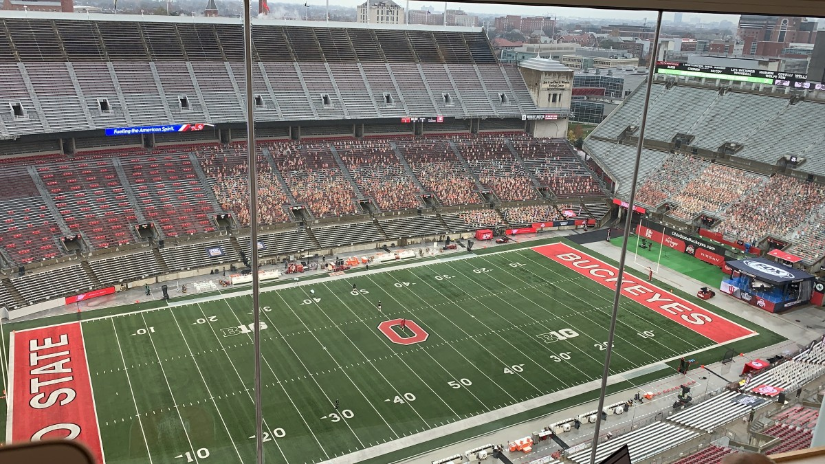 My view from the press box at Ohio Stadium for Indiana-Ohio State.