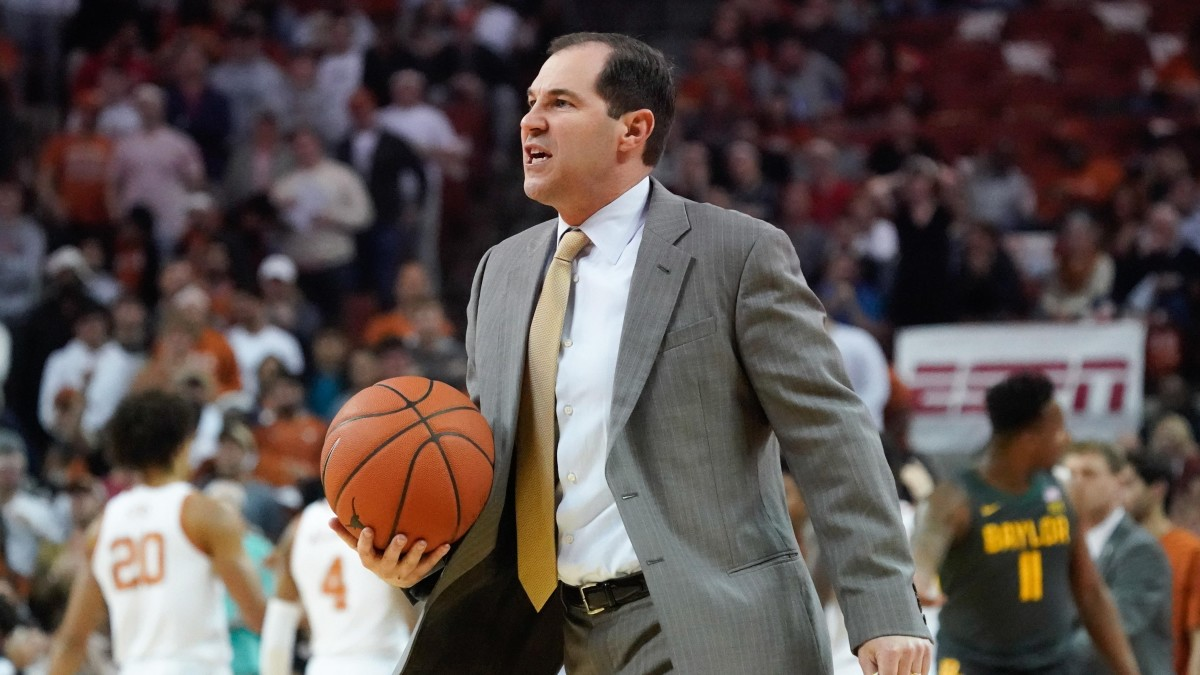 Baylor Bears head coach Scott Drew has words with an official in the first half of the game against the Texas Longhorns at Frank C. Erwin Jr. Center.
