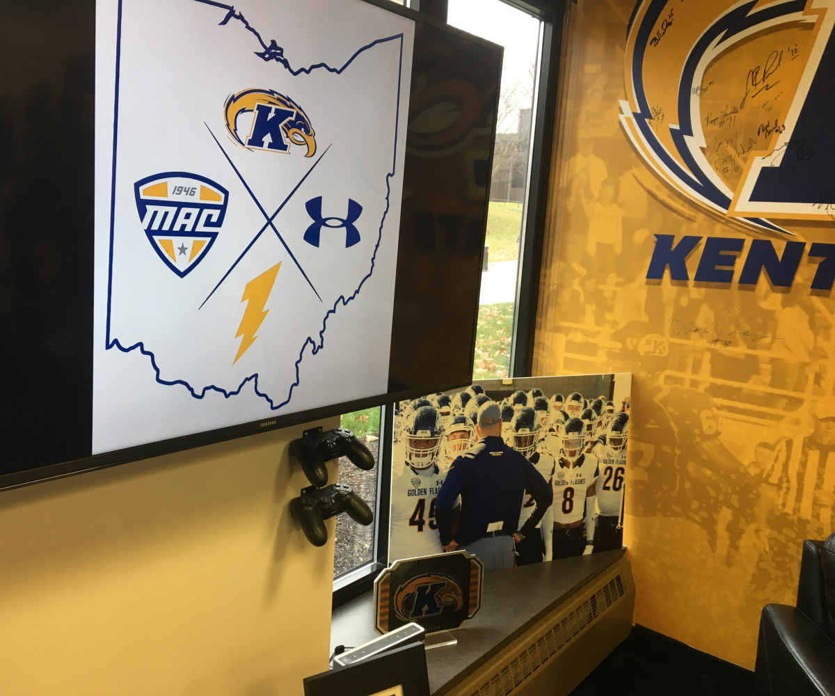 """""""The sticks,"""" two PlayStation remote controllers, are an integral piece to Kent State coach Sean Lewis's rebuild with the Golden Flashes.At just age 34, Lewis is a big PS4 fan who often finds himself in games with recruits and players—a fun hobby that also serves as a bonding and relationship-building strategy."""
