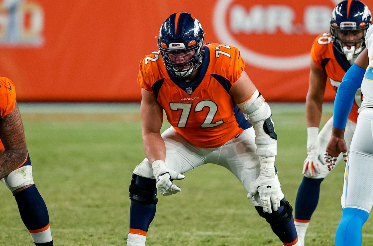 Denver Broncos offensive tackle Garett Bolles (72) in the fourth quarter against the Los Angeles Chargers at Empower Field at Mile High.