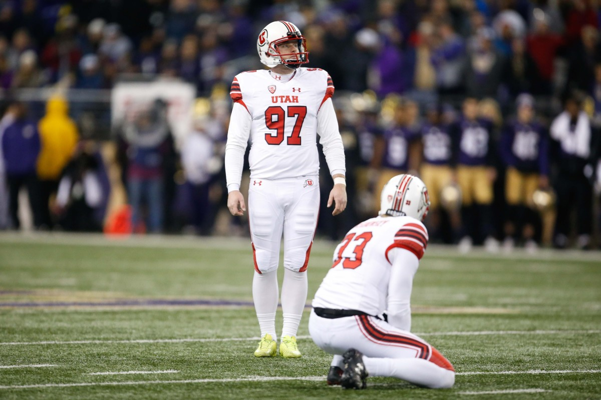 Nov 18, 2017; Seattle, WA, USA; Utah Utes place kicker Matt Gay (97) lines up a kick against the Washington Huskies during the second quarter at Husky Stadium.