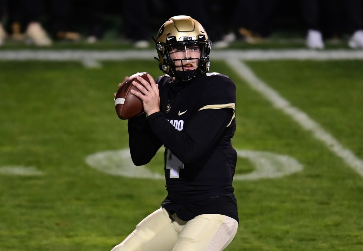 Nov 7, 2020; Boulder, Colorado, USA; Colorado Buffaloes quarterback Sam Noyer (4) prepares to pass in the first quarter against the UCLA Bruins at Folsom Field.