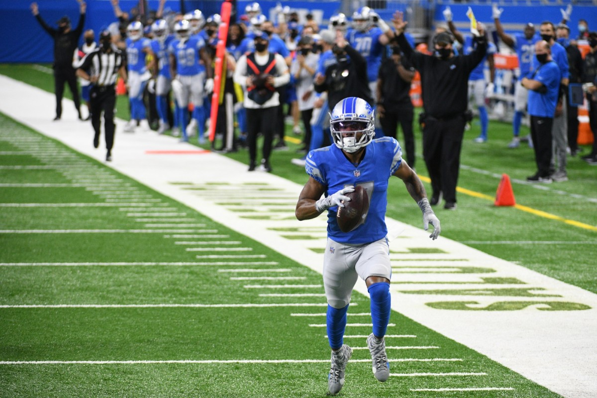 Detroit Lions wide receiver Marvin Hall runs for a touchdown against the Washington Football Team.