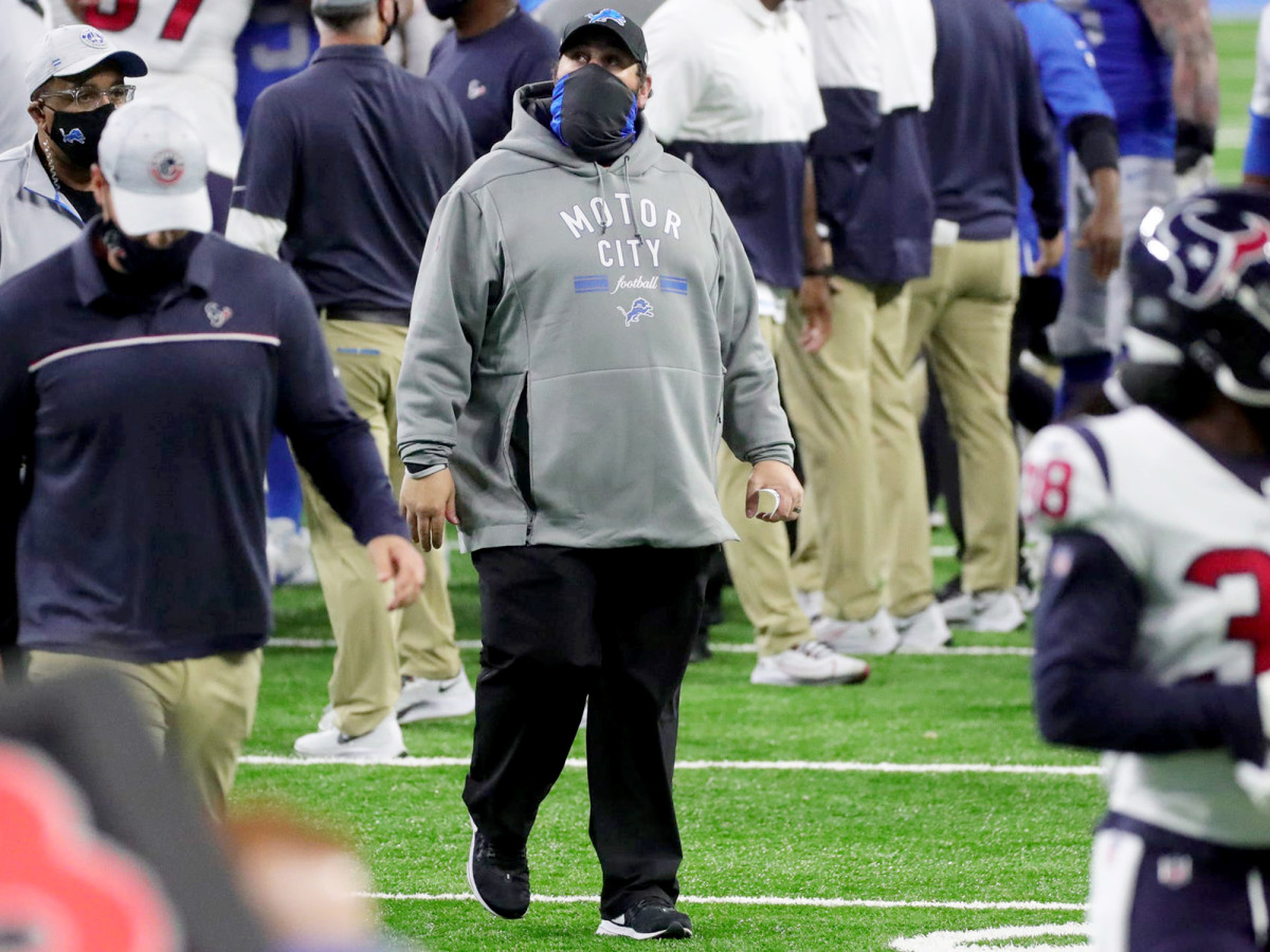 Detroit Lions head coach Matt Patricia walks off the field after the 41-25 loss to the Houston Texans at Ford Field, Thursday, Nov. 26, 2020.