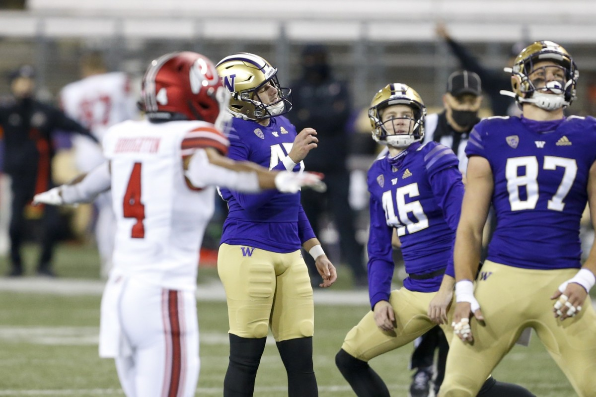 Nov 28, 2020; Seattle, Washington, USA; Washington Huskies place kicker Peyton Henry (47) reacts after missing a field goal attempt against the Utah Utes during the second quarter at Alaska Airlines Field at Husky Stadium.