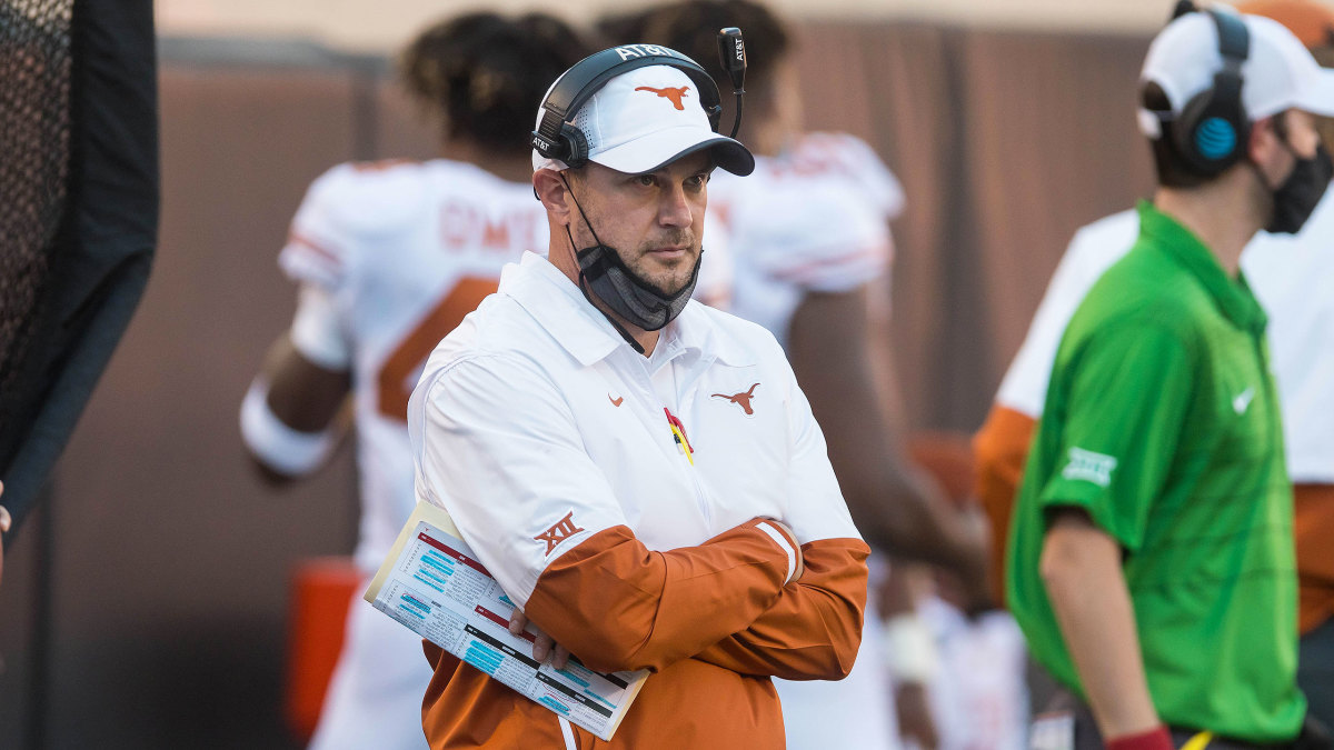 Texas coach Tom Herman looks on during a 2020 game