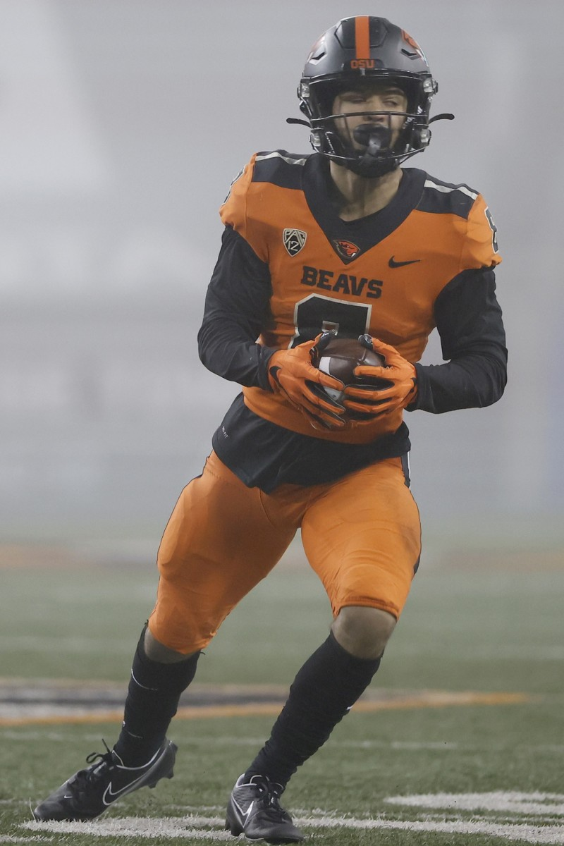 Nov 27, 2020; Corvallis, Oregon, USA; Oregon State Beavers wide receiver Trevon Bradford (8) runs after a catch against the Oregon Ducks during the second half at Reser Stadium.