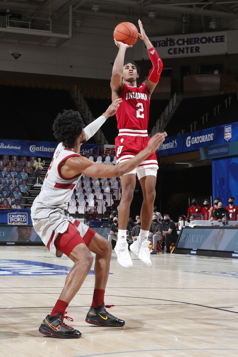 Indiana sophomore guard Armaan Franklin pulls up for a jumper in Wednesday's win over Stanford. (Photos courtesy IU Athletics)