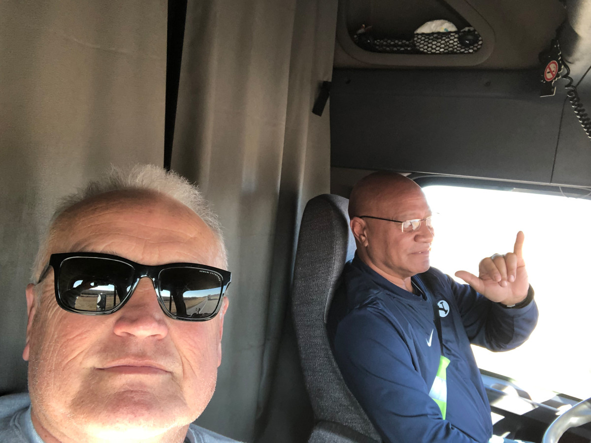 Hal Morrell and Fili Taufa are on a 40-hour, 2,200-mile haul across the country in BYU's equipment truck.
