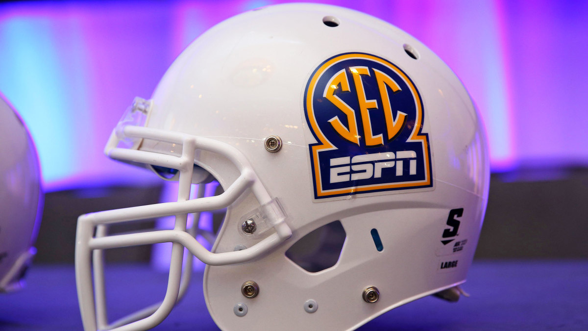"A football helmet with an ""SEC ESPN"" logo"