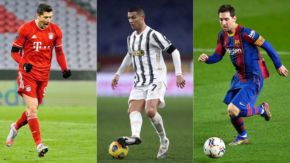 Robert Lewandowski, Cristiano Ronaldo and Lionel Messi lead their clubs in the Champions League
