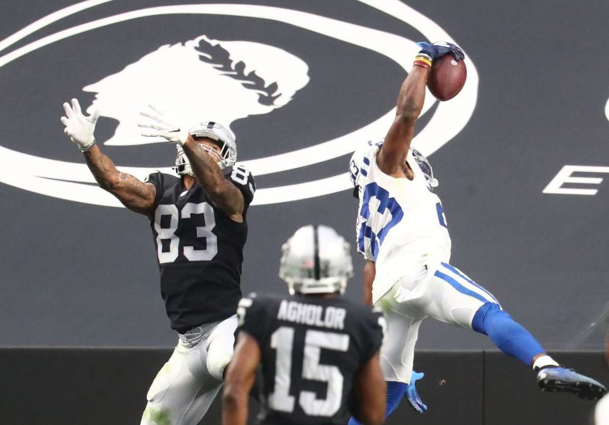 Indianapolis Colts cornerback Kenny Moore II leaps to make a one-handed interception in Sunday's road win at Las Vegas.