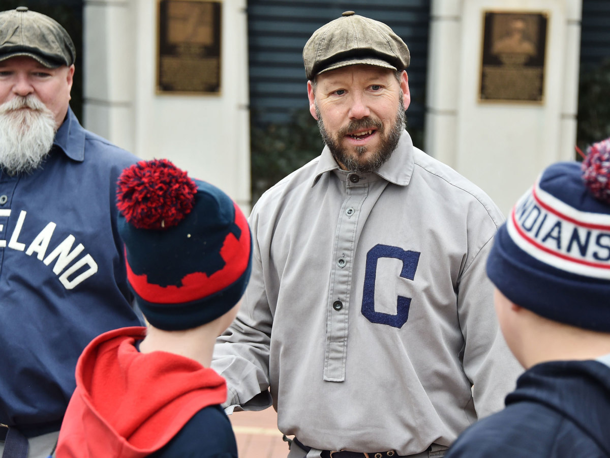 Cleveland fan wearing old uniform