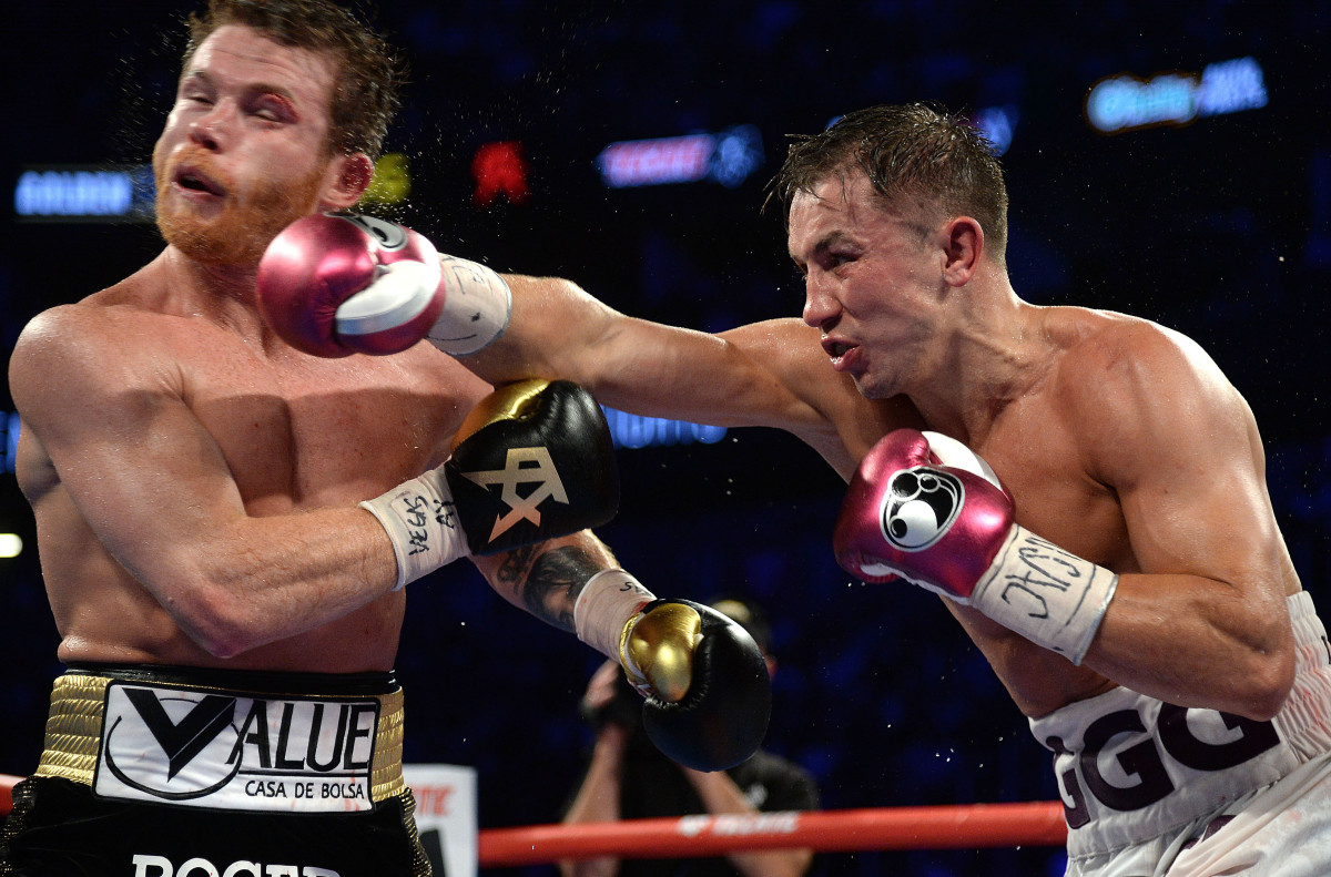 Canelo Alvarez (black trunks) and Gennady Golovkin (white trunks) box in the middleweight world championship boxing match at T-Mobile Arena in September 2018. Alvarez won via majority decision.