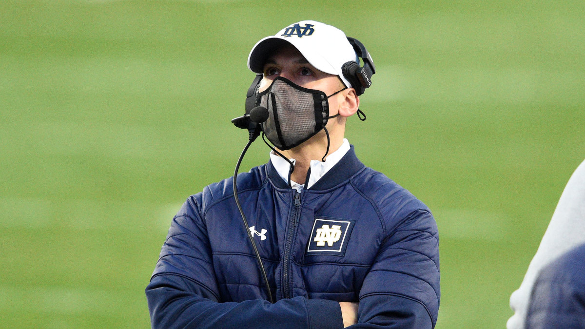 Notre Dame head coach Brian Kelly looks on during a loss to Clemson
