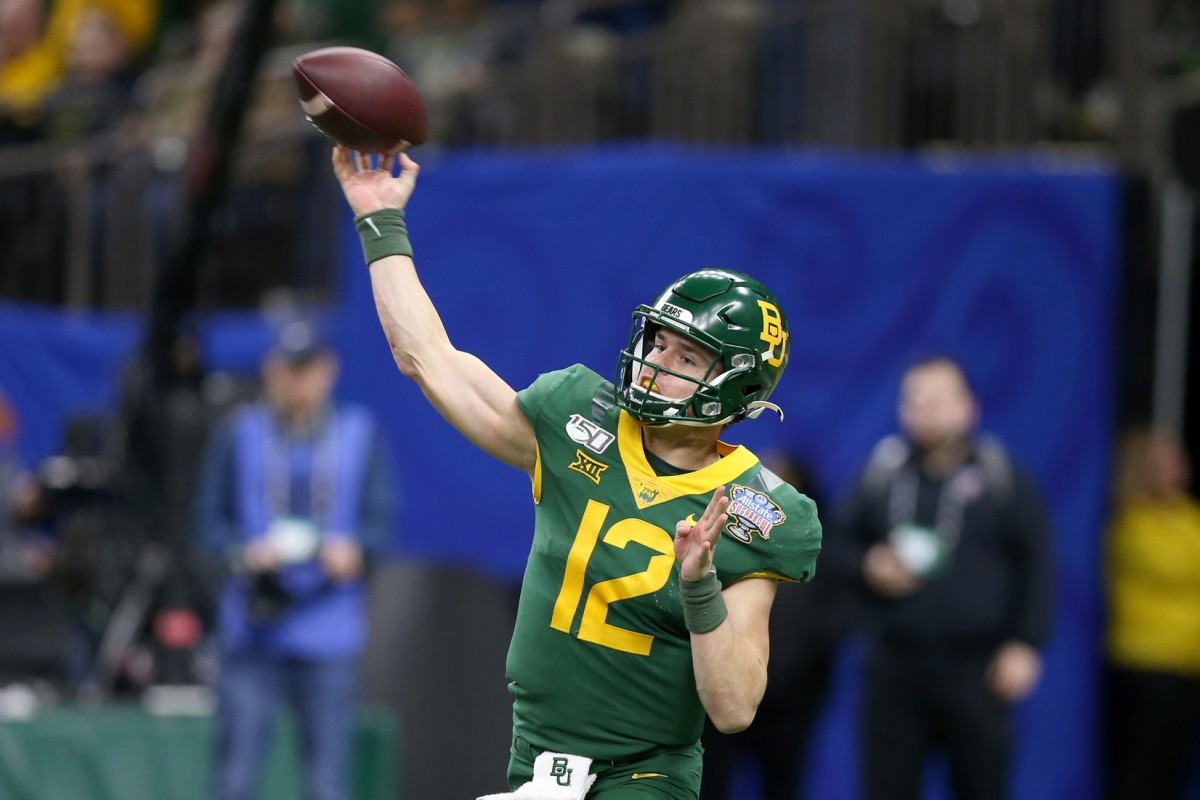 Jan 1, 2020; New Orleans, Louisiana, USA; Baylor Bears quarterback Charlie Brewer (12) makes a throw in the second half against the Georgia Bulldogs in the Sugar Bowl at the Mercedes-Benz Superdome.