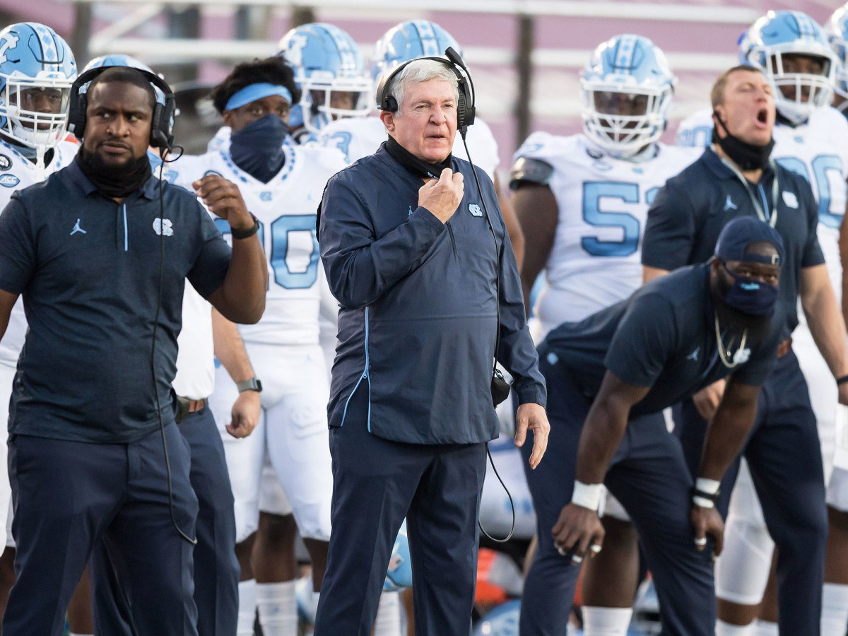UNC coach Mack Brown on the sideline