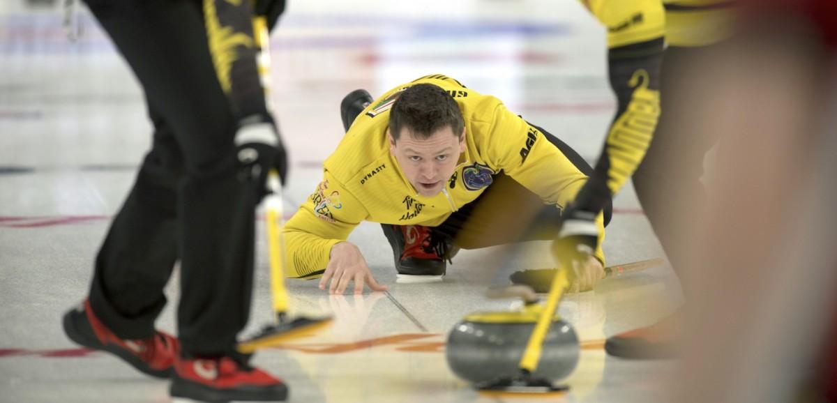 Jason Gunnlaugson having fun at the 2020 Brier • Michael Burns-Curling Canada