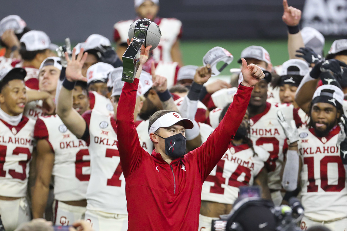 Lincoln Riley hoists Oklahoma's 50th conference title