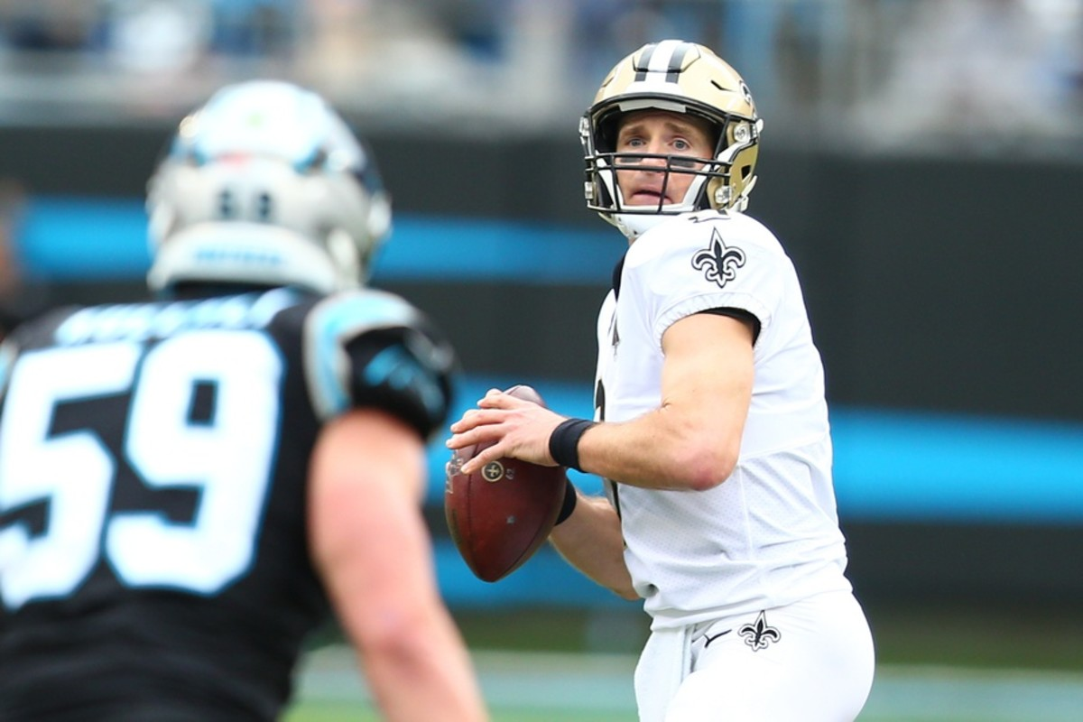 Dec 29, 2019; Charlotte, North Carolina, USA; New Orleans Saints quarterback Drew Brees (9) passes the ball during the second quarter against the Carolina Panthers at Bank of America Stadium. Mandatory Credit: Jeremy Brevard-USA TODAY