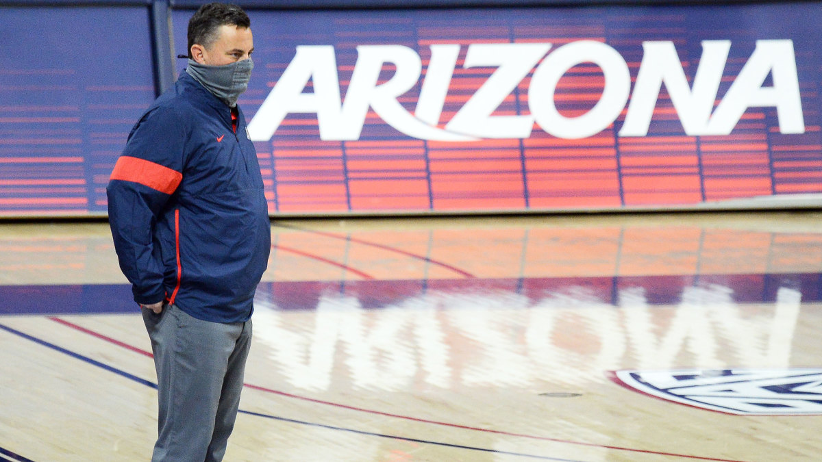 Arizona men's basketball coach Sean Miller looks on during a game