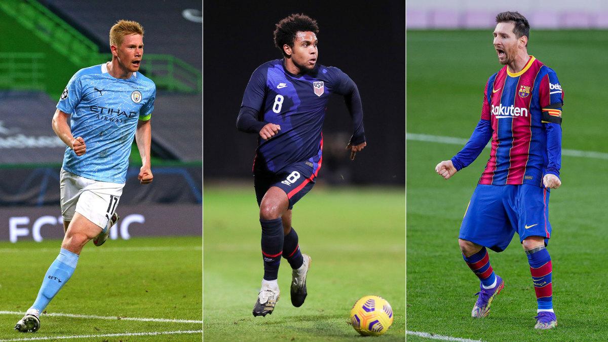 Kevin De Bruyne, Weston McKennie and Lionel Messi
